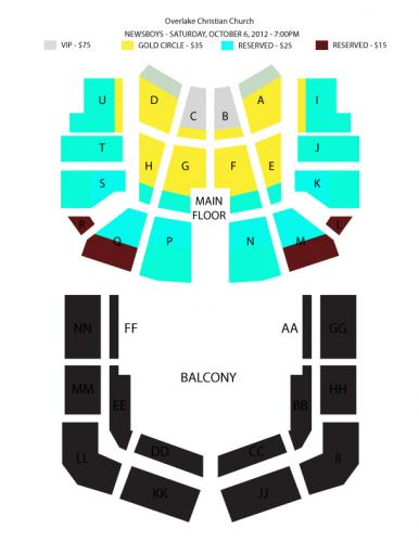 Seating chart casino nb